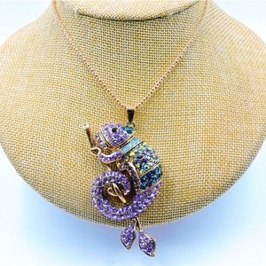 Jewelry - purple Chameleon pendant and chain